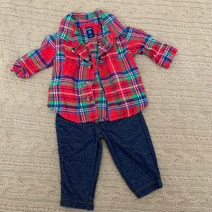 ⭐️3/$25⭐️ Baby girl plaid outfit lot